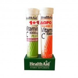 Health Aid Vitamin C 1000mg Plus Echinacea 20 eff.tab. & Vitamin C 1000mg Orange 20 eff.tab